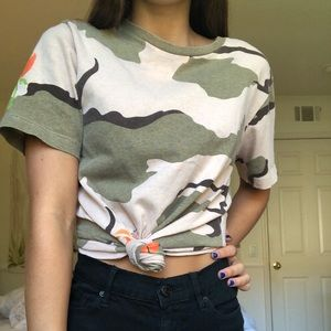 """UO camo tee with orange flowers and blue """"nope"""""""